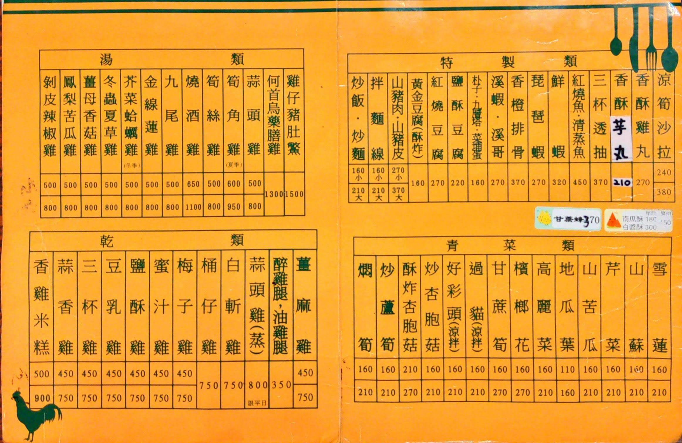 大崗山土雞城餐廳 田野香雞庭園 菜單